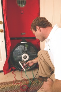 Testing air-leakage with a Blower Door
