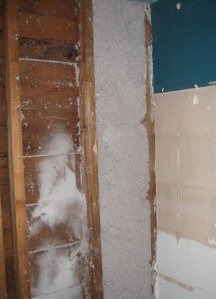 Dense packed cellulose stays in place even if drywall is later pulled down (we don't recommend pulling the drywall down to check, though!)