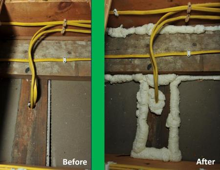before and after air-sealing of electrical penetrations and partition walls