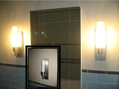 CFL sconce in green bathroom remodel