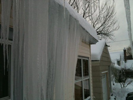 big icicles; roof ice