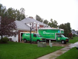trucks outside home