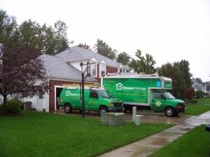 trucks outside home