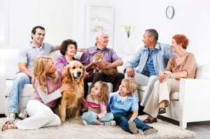 Extended family enjoying at home with their pets.
