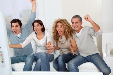 Football fans chearing on their team