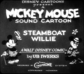 Screenshot from Mickey Mouse in Black and White Volume 1. (Timecode 00:00:04 of main feature). DVD issued by Walt Disney Home Entertainment, December 2003. DVD © Disney. Film copyright MCMXXIX (1929) DISNEY.